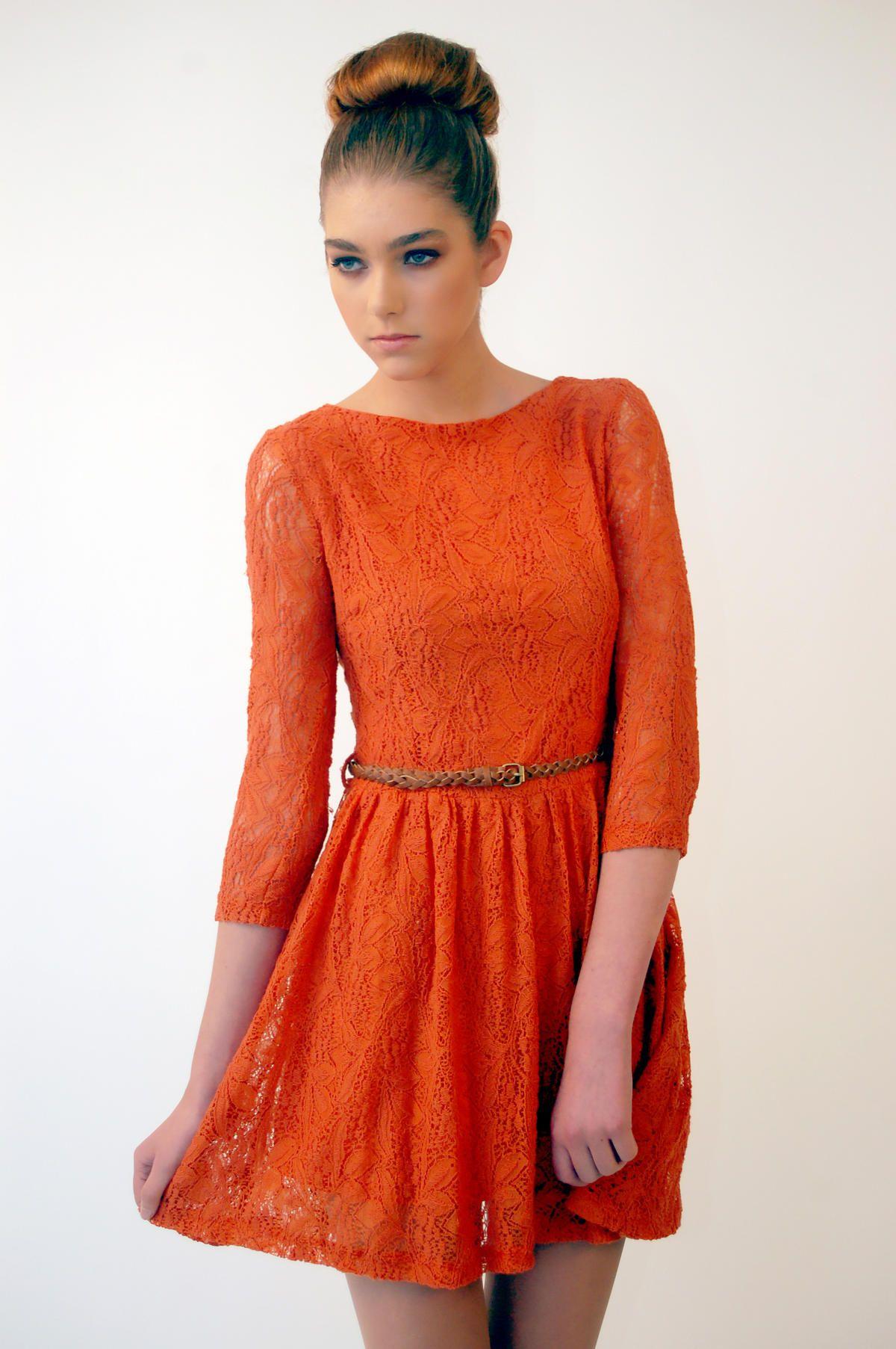 aa126defa4f0b Orange dress Şirin Elbiseler, Resmi Elbiseler, Moda, Elbiseler