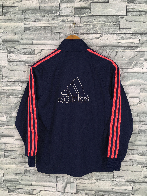 a4cb7da7090 ADIDAS Track Top Jacket Women Medium Vintage 90's Adidas Pink Three Stripes  Windbreaker Sportswear Blue Firebird