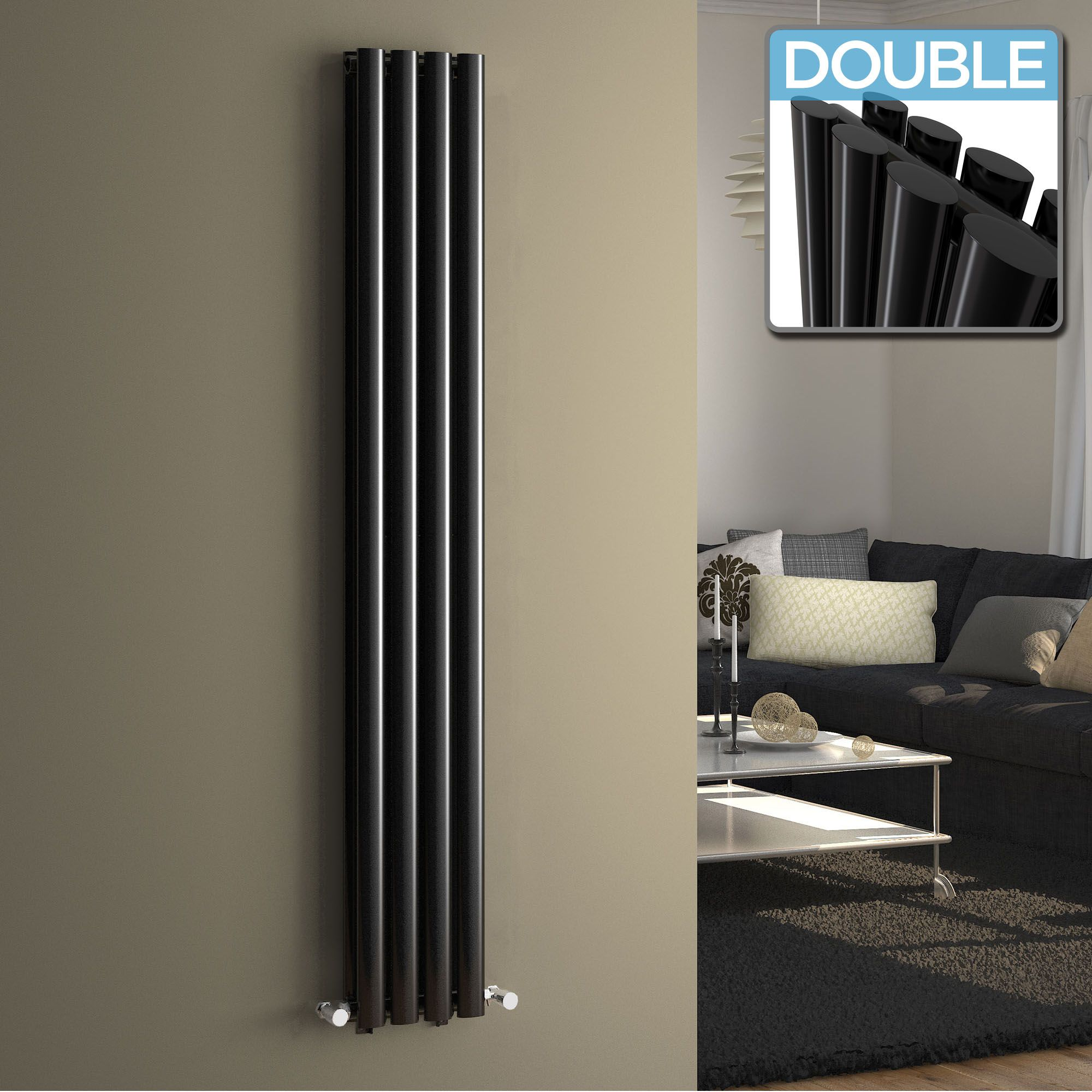 1600x240mm Black Double Oval Tube Vertical Radiator   Nevis Premium £142.99