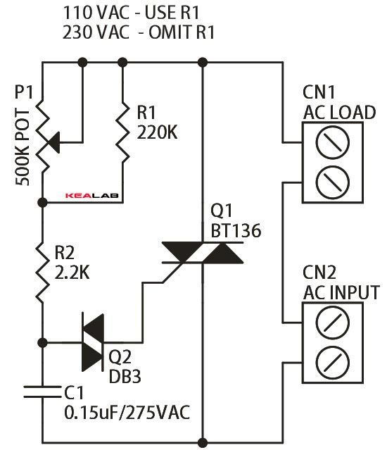 Triac Based Indecent Lamp Dimmer Is A Simple Circuit And It Doesn T Requires Additional Power Electronic Schematics Electronic Circuit Projects Simple Circuit