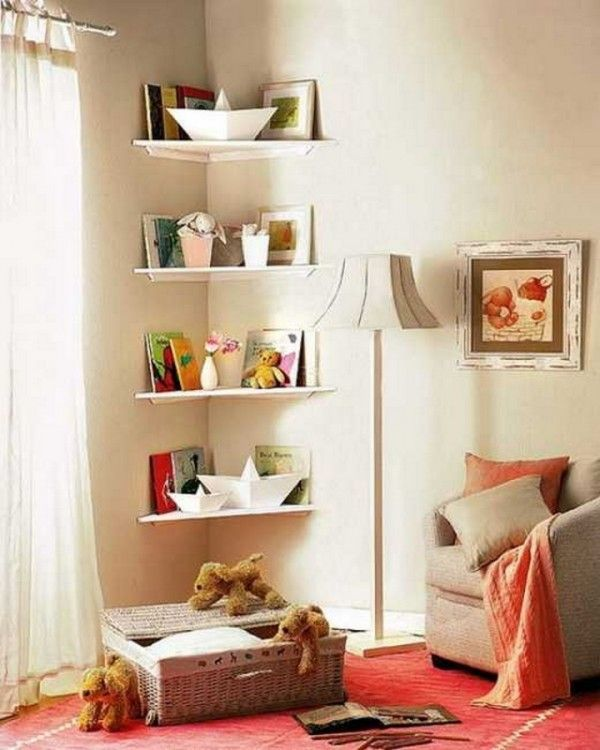 Maybe In The Boys Room Not Adjustable Though Simple DIY Corner Book Shelves Adding Storage Spaces To Small Kids Rooms