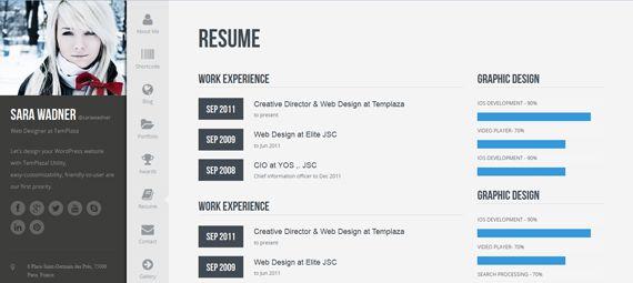 Me by cssigniter Wordpress Themes resume, vCard \ CV - wordpress resume themes