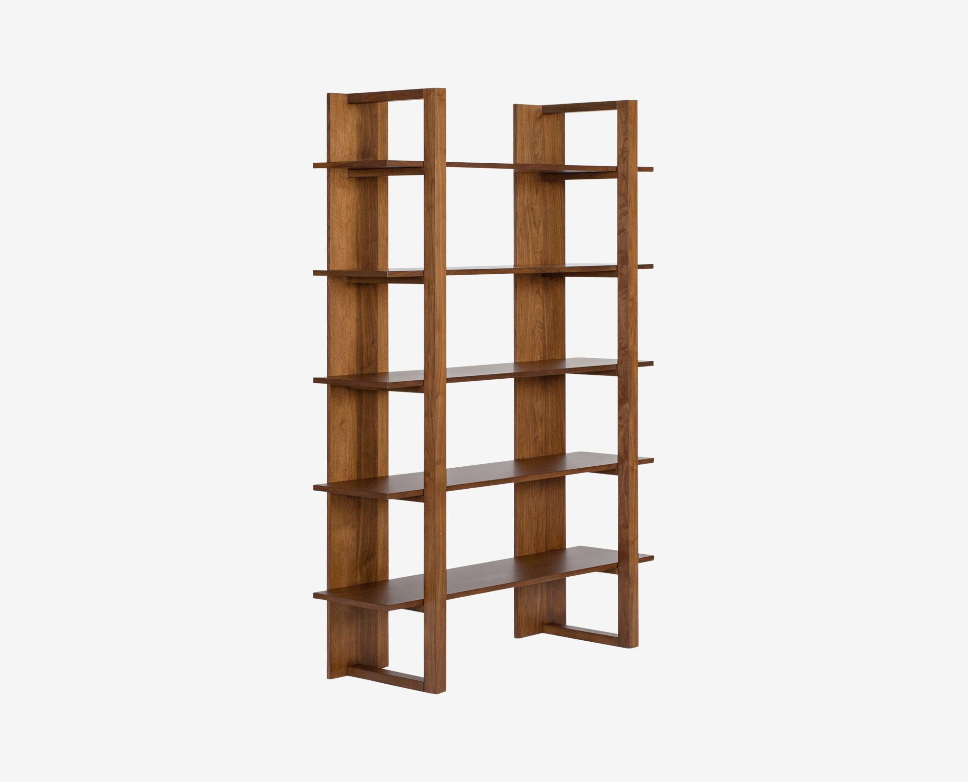 Dania The Open Design Of The Kring Bookcase Lends A Light And Airy Feel To Your Display Space With Five Open Shelv Bookcase Scandinavian Design Walnut Veneer
