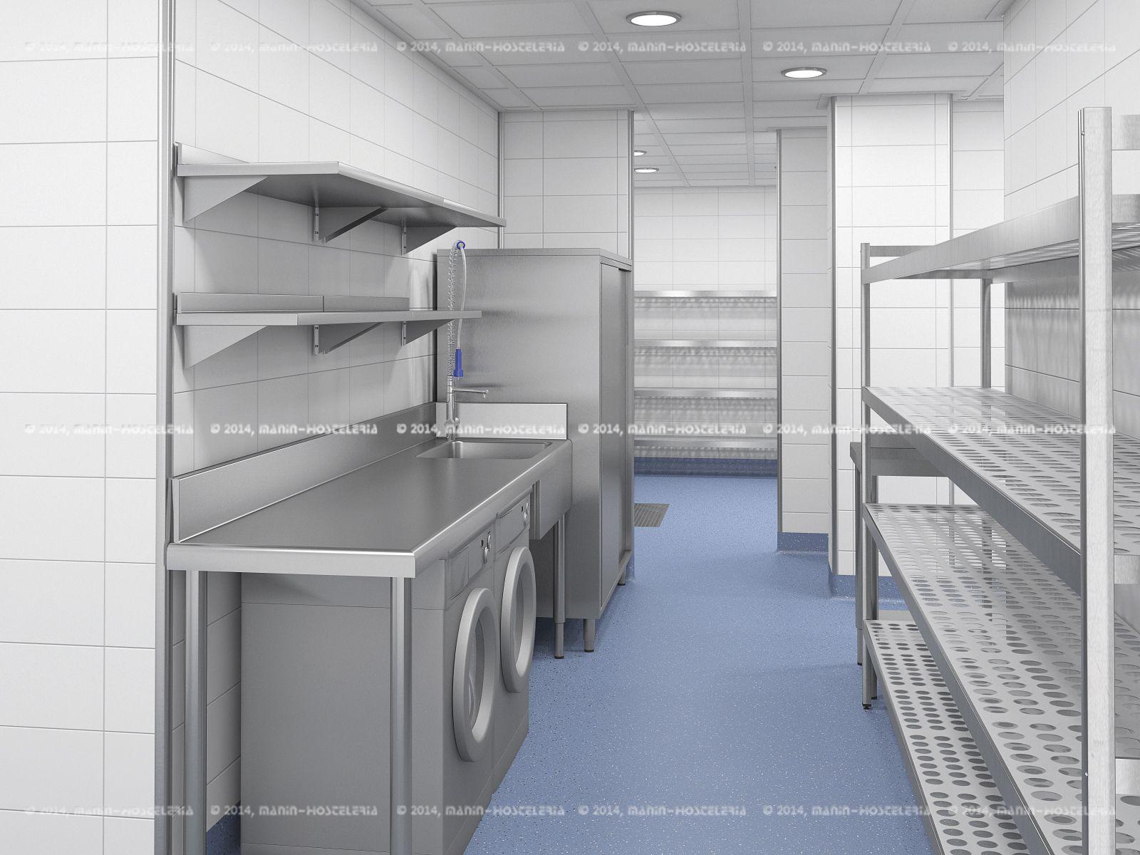 Dise o de cocina industrial en 3d y cad con rea de cocci n y rea de lavado para el - Valencia club de cocina ...
