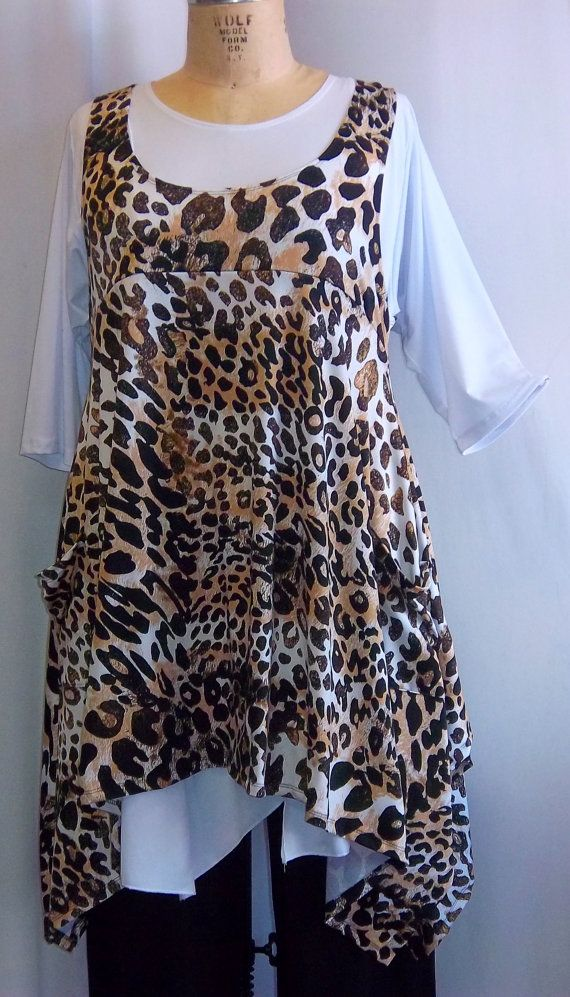 e8fed41905368 Coco and Juan Plus Size Top Lagenlook Layering Tunic Top Leopard Print Knit  Size 2 Fits 3X
