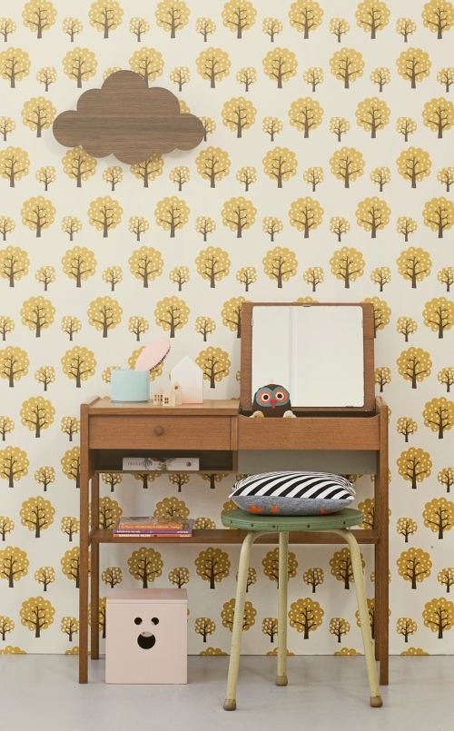 Retro Behangpapier Kinderkamer.Ferm Living Behang Wallpaper Dotty Yellow Geel