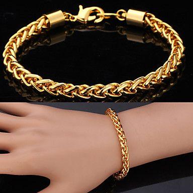 1b68543bea63 u7® oro 18k de la alta calidad incorrectamente completado retorció singapur  pulsera de cadena enlace para hombres mujeres 7mm 21cm 2016 – €7.99