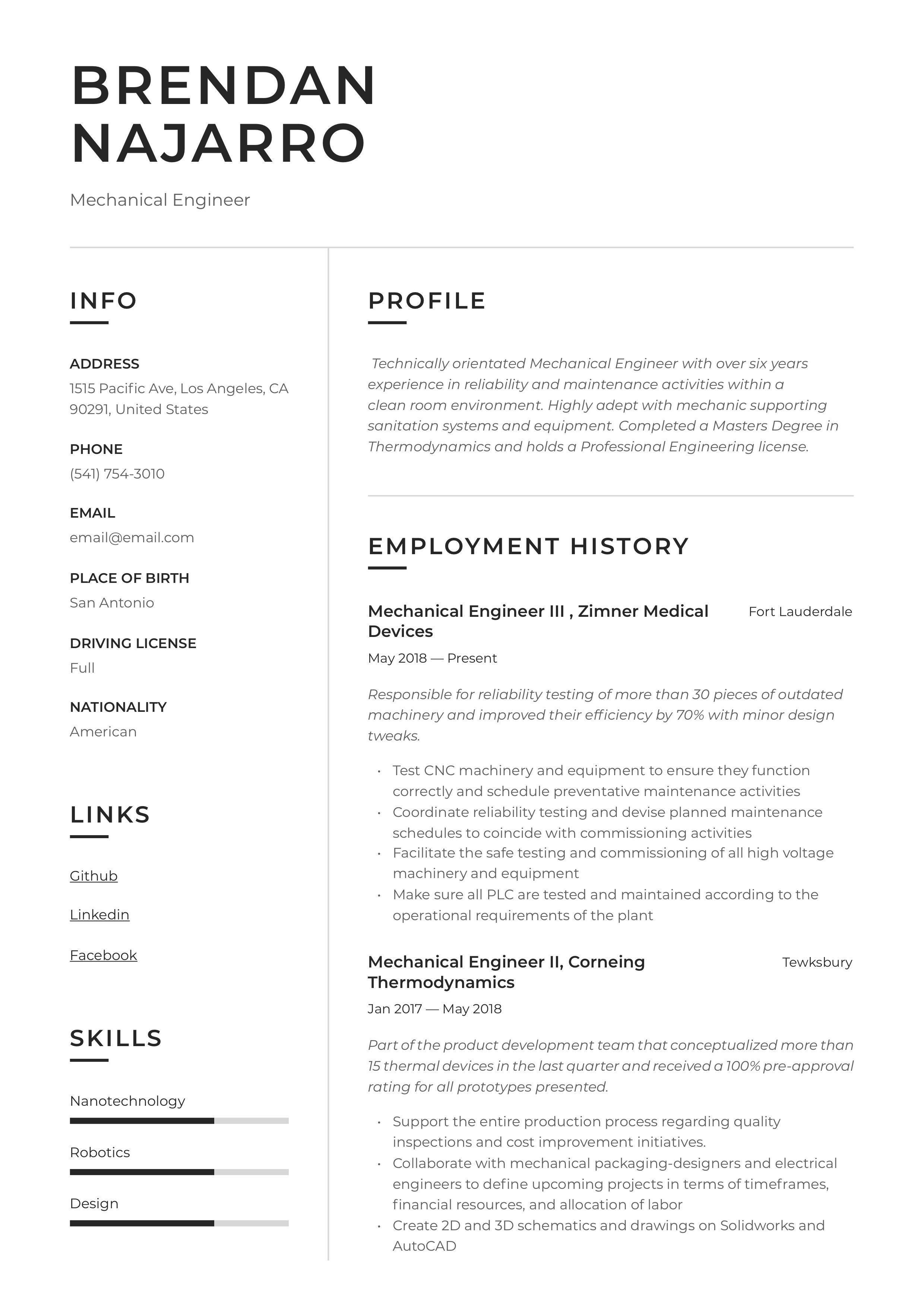 Mechanical Engineer Resume & Writing Guide in 2020