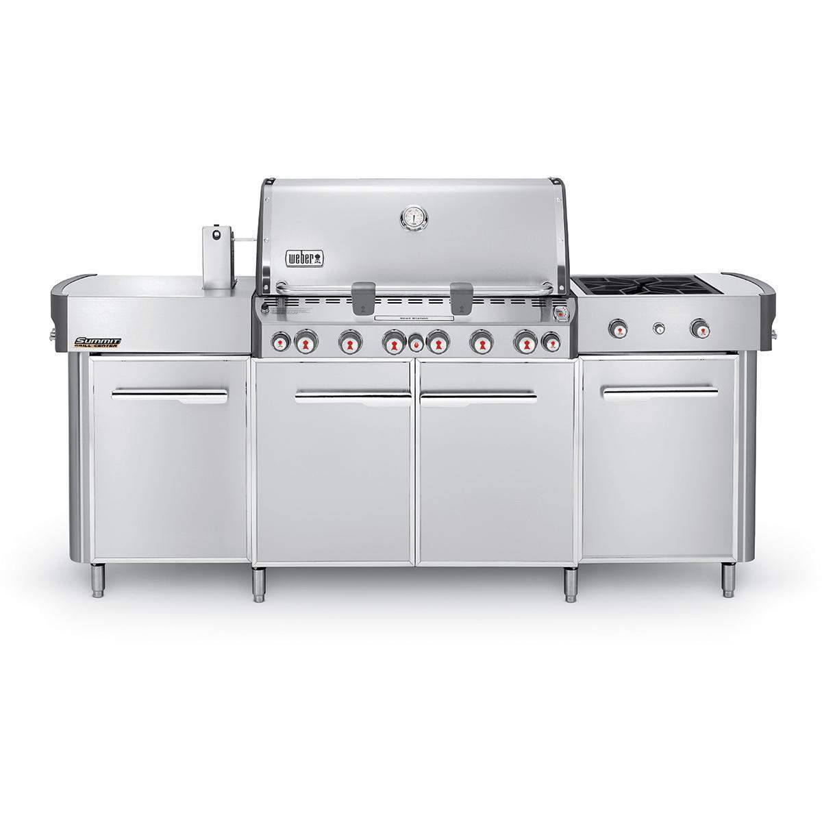 Weber Summit Grill Center Propane Gas Grill With Rotisserie Sear Burner Side Burner Stainless Steel 291001 Outdoor Kitchen Countertops Propane Gas Grill Outdoor Kitchen Bars