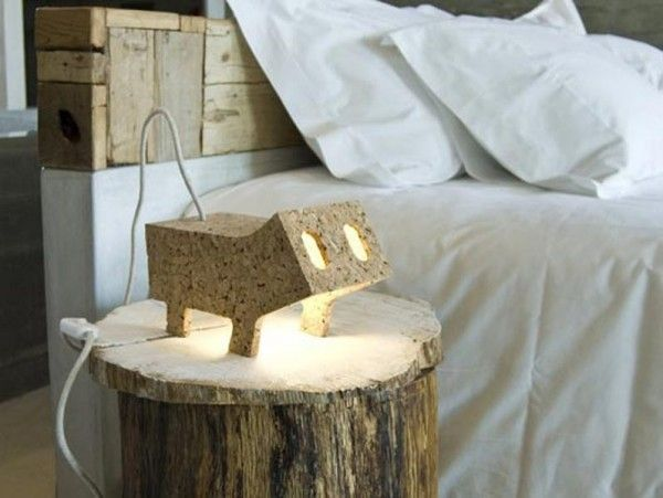 Small Animal Table Lamp Made of Cork