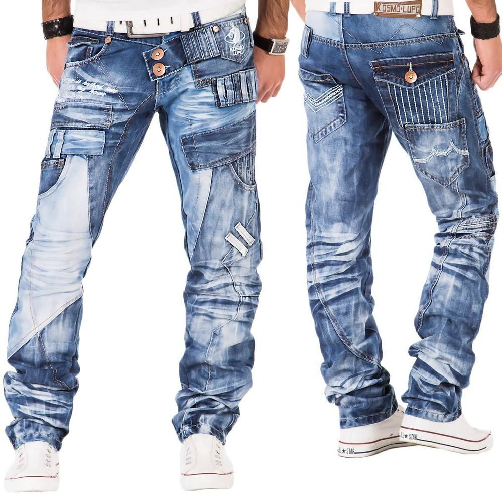 Kosmo Lupo Herren Jeans Hose Cargo Clubwear Denim Vintage