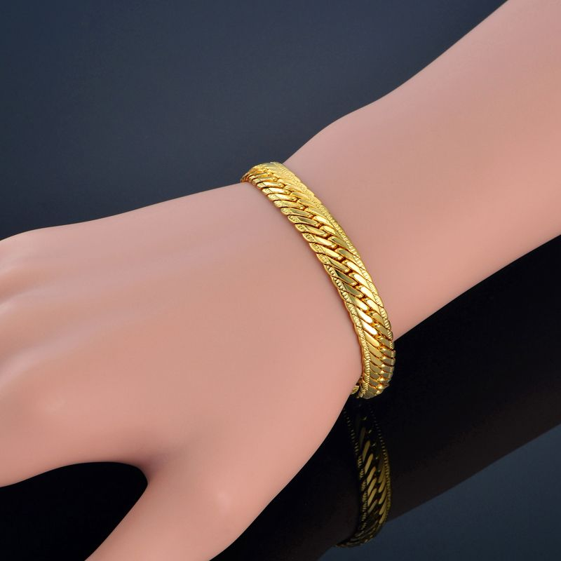 Gold Bracelet Men Jewelry With Embossing Gold Color 8 Mm