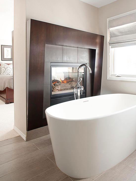 Two Sided Fireplaces Two Sided Fireplace Modern Bathroom Design Bathroom Fireplace