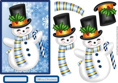Frosty the Snowman on Craftsuprint designed by Chris Harland - A quick topper with step by step decoupage, Christmas snowman and sentiments - Now available for download!