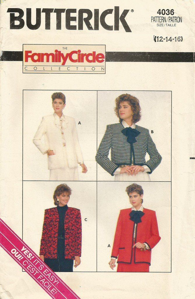 Butterick+4036+Uncut+Sewing+Pattern+Classic+Channel+Style+Lined+ ...