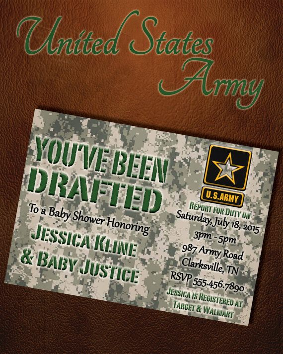 Us Military Baby Shower Digital Invitation Army By Six8twelvedesigns