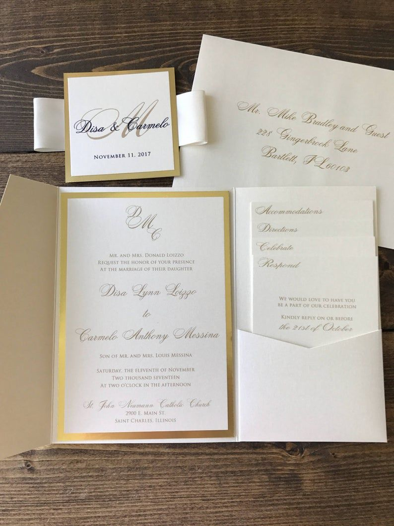 Gold Pocket Wedding Invitations Champagne Wedding Wedding Etsy Wedding Invitations Champagne Pocket Wedding Invitations Pocket Fold Wedding Invitations