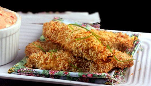 Crunchy Baked Coconut Lime Chicken Strips (or nuggets) with Spicy Yogurt Dip