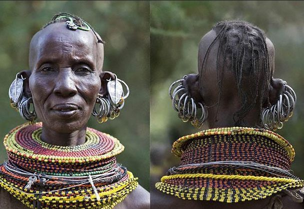 Extreme African Jewelry With Large Silver Earrings And Colorful
