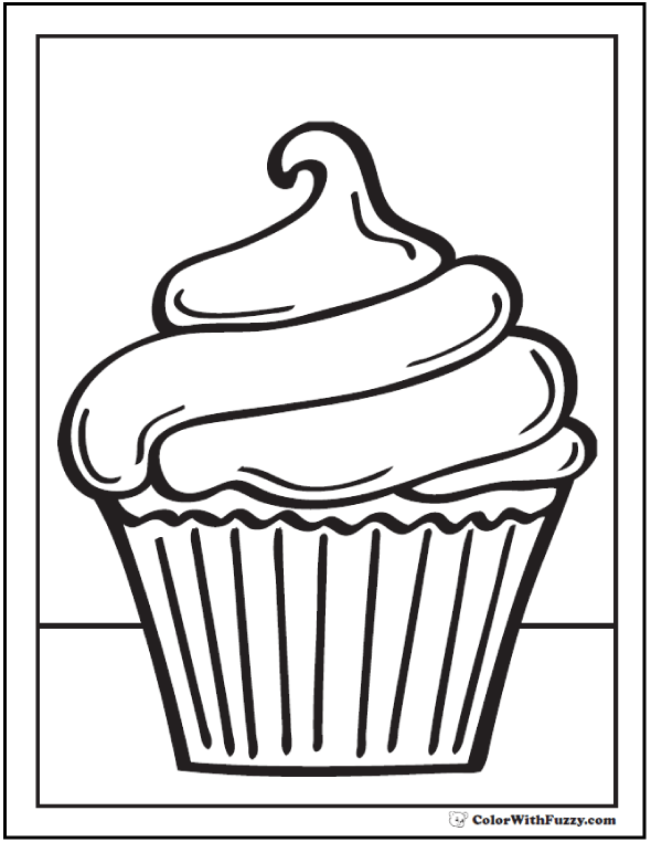 40+ Cupcake Coloring Pages: Customize PDF Printables | Zentangle ...