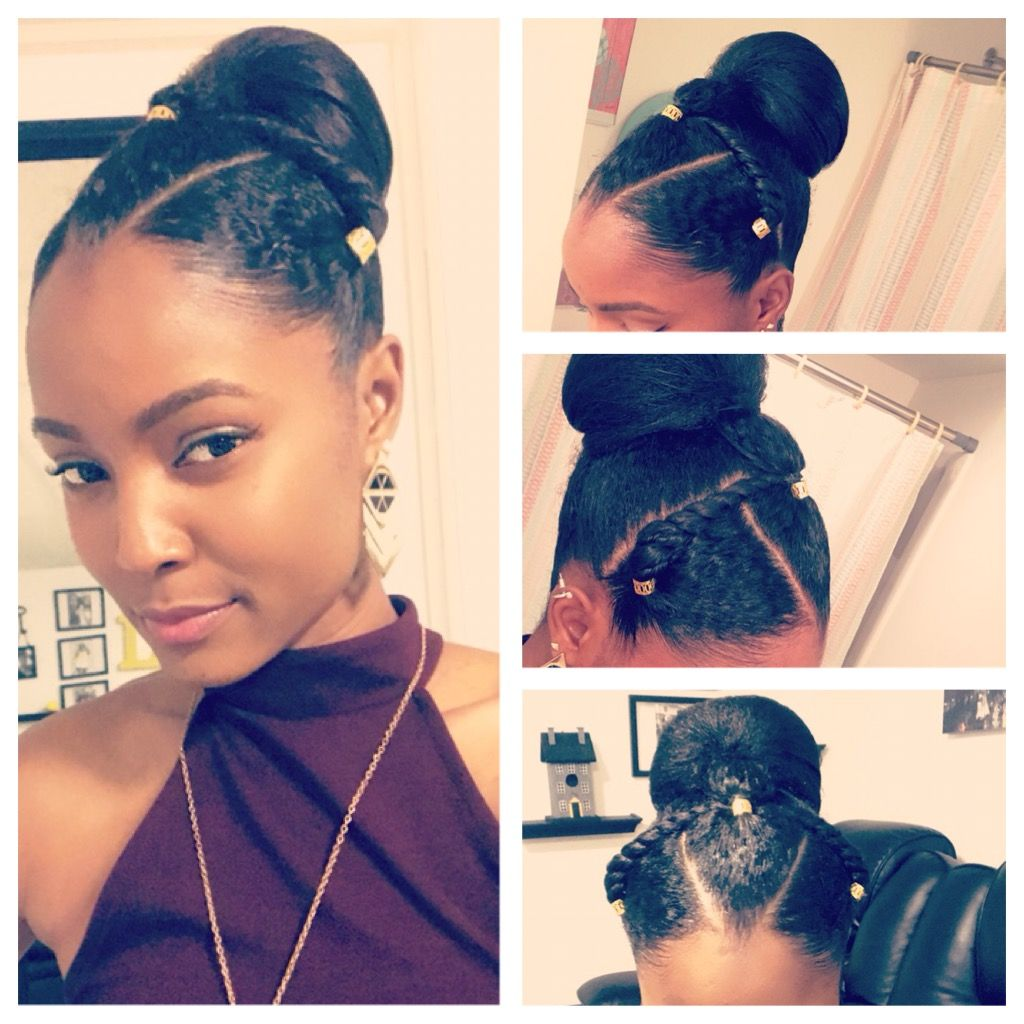 protective style , rubber band , ponytail, bun, transition