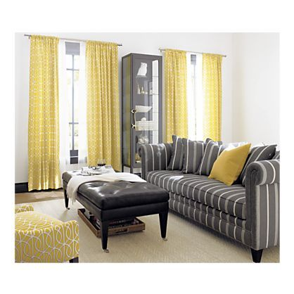 Yellow grey living room love the stripes living room - Grey and yellow living room curtains ...