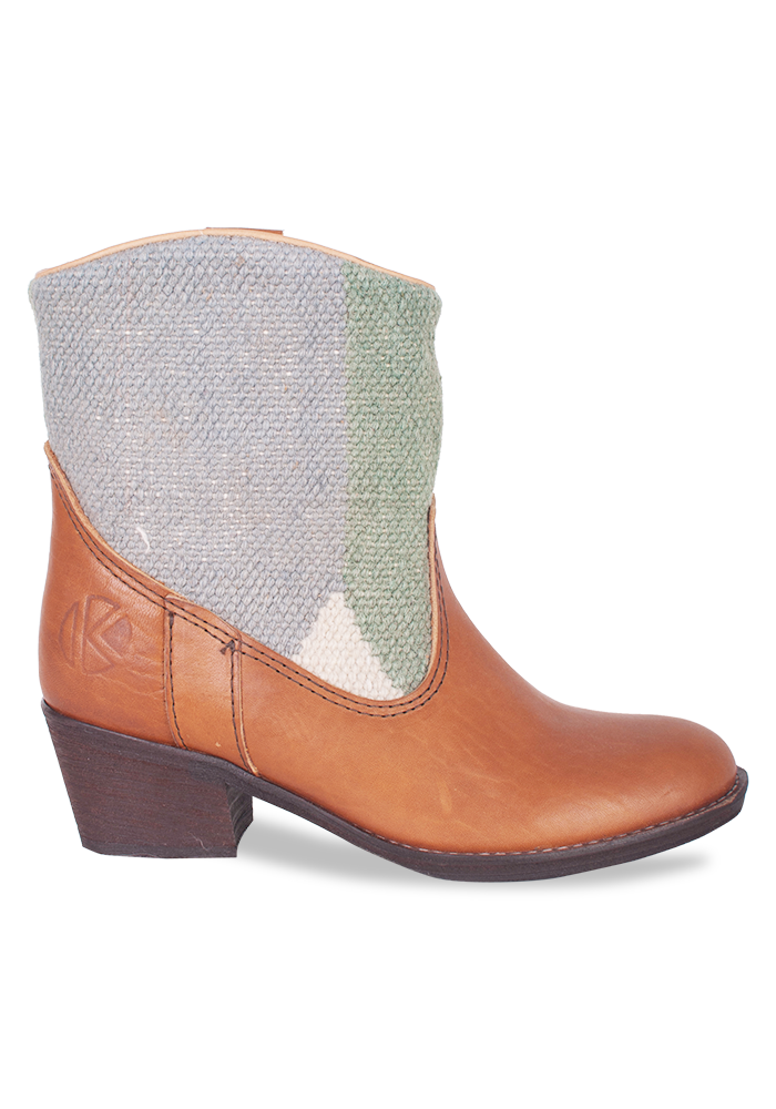 Now on sale; handmade kilim and leather ankle boots for women.