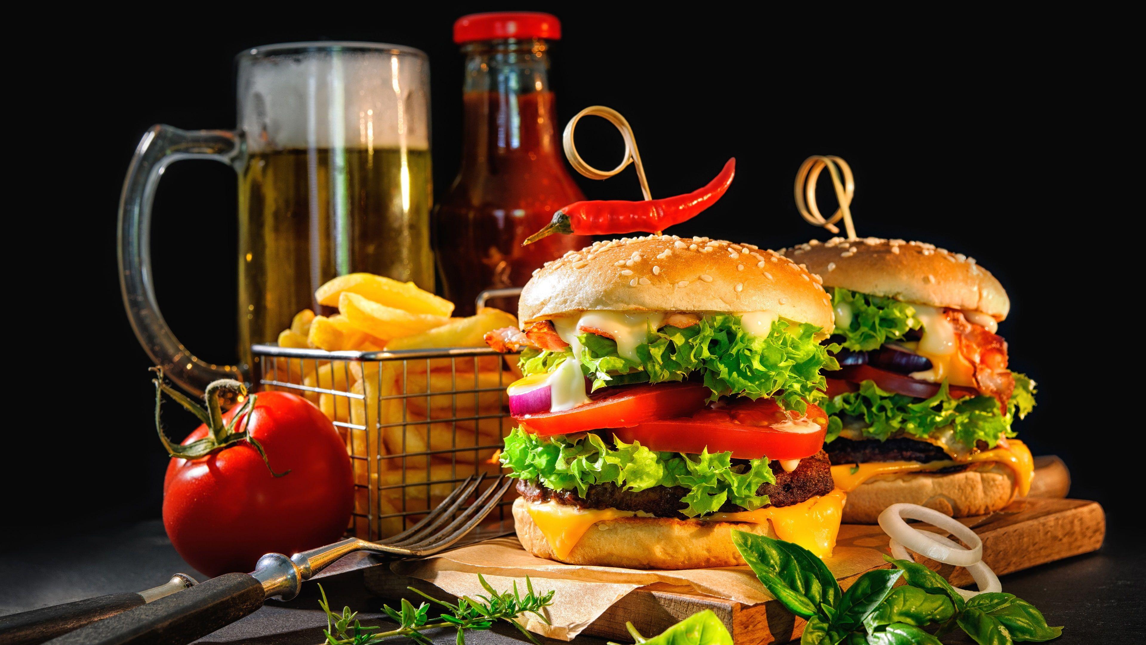 Fast Food Junk Food Food Hamburger Sandwich Beer Finger Food French Fries Cheeseburger American Food 4k Wallpaper Hdwal Food Food Wallpaper Eating Fast Food full hd wallpaper