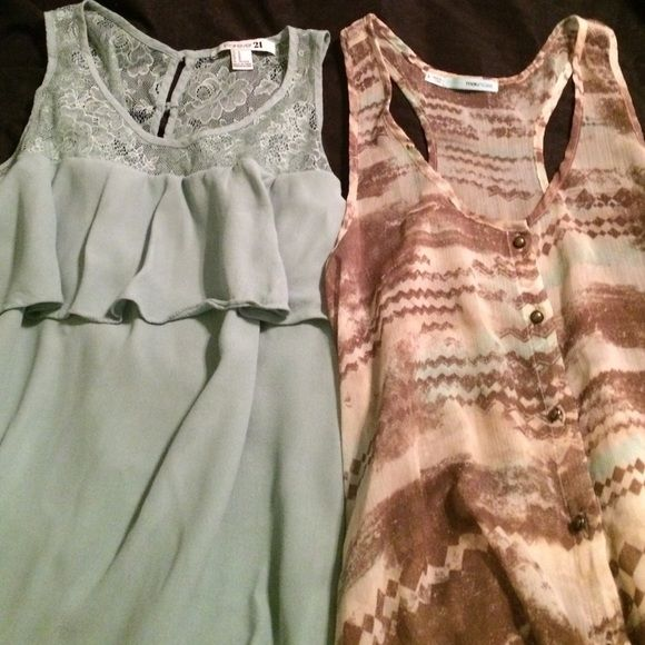 2 blouses. Forever 21&maurices Maurice's size small blouse is long and sheer /forever 21 is size med. both are in good condition Forever 21 Tops Blouses