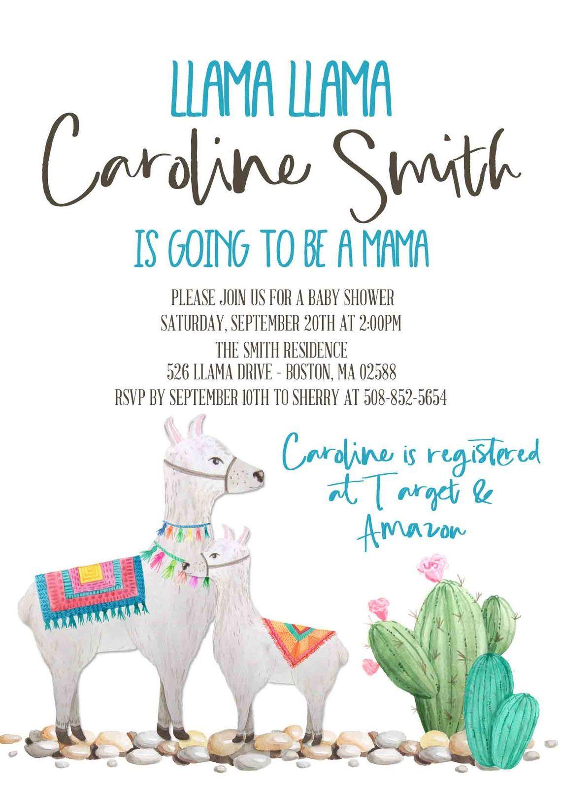Llama baby shower invitation Gender Neutral Invitation ...