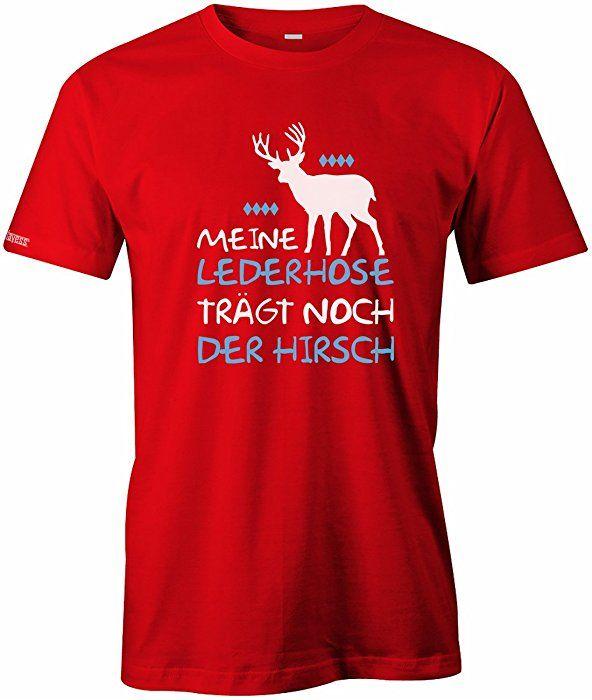 8ecd69707e3314 MEINE LEDERHOSEN TRÄGT NOCH DER HIRSCH - OKTOBERFEST - HERREN - T-SHIRT in  Rot