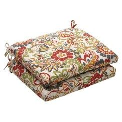 Outdoor 2-Piece Chair Cushion Set - Green/Off-White/Red Floral