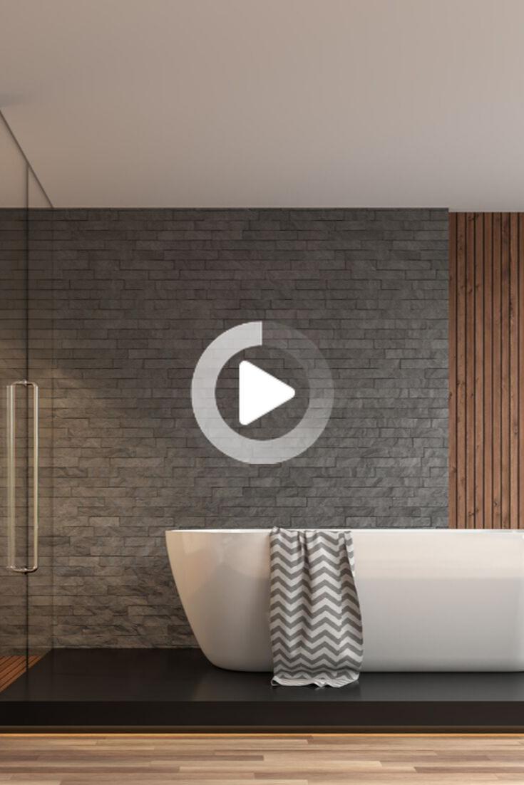 grey bathroom ideas slate tile wall panels modern