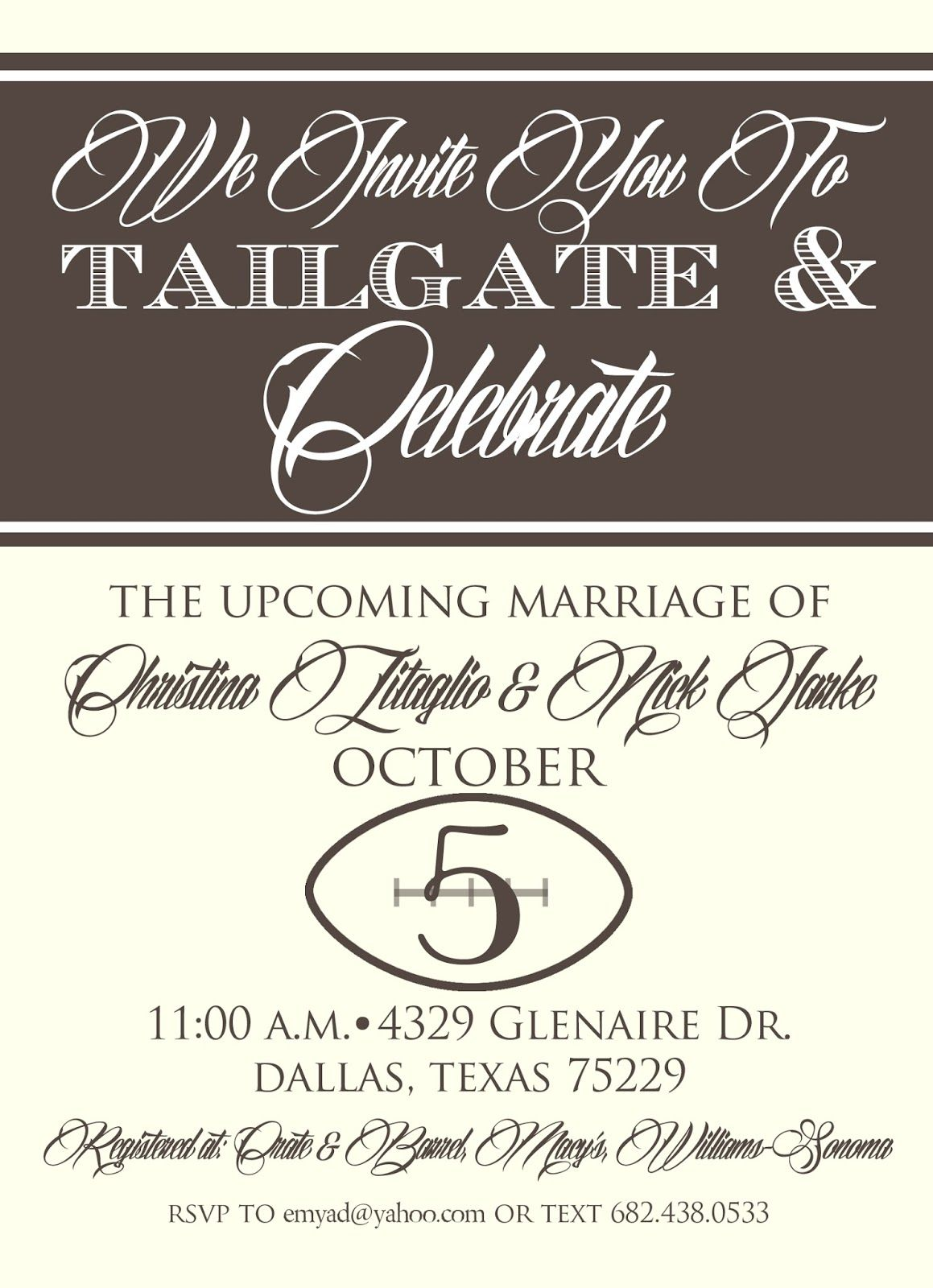 couture bridal shower | Brown Paper Couture: Tailgate wedding shower ...
