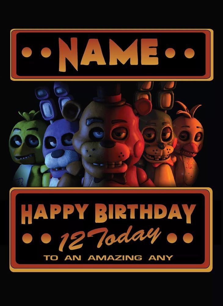 Five Nights At Freddys Personalised Birthday Card Fast Free