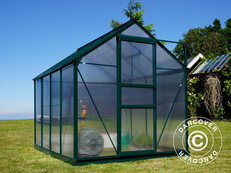 Greenhouse Polycarbonate 5 92 m², 1 9x3 12x2 01 m, Green