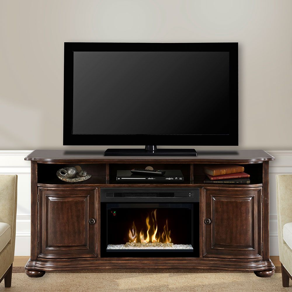 Montgomery 26in electric fireplace and tv stand cherry 26mm2490 c233 - Dimplex Henderson Distressed Cherry Electric Fireplace Entertainment Center W Glass Gds25g 1414hc