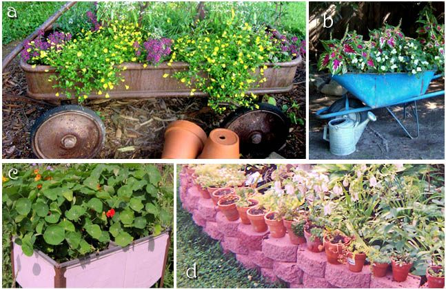 Garden Ideas From Recycled Materials Rusty Wagon Wheelbarrow Pink Sink Pink Bricks