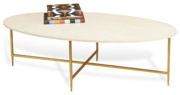 Greenwich Cream Marble Gold Oval Cocktail Table Traditional Coffee