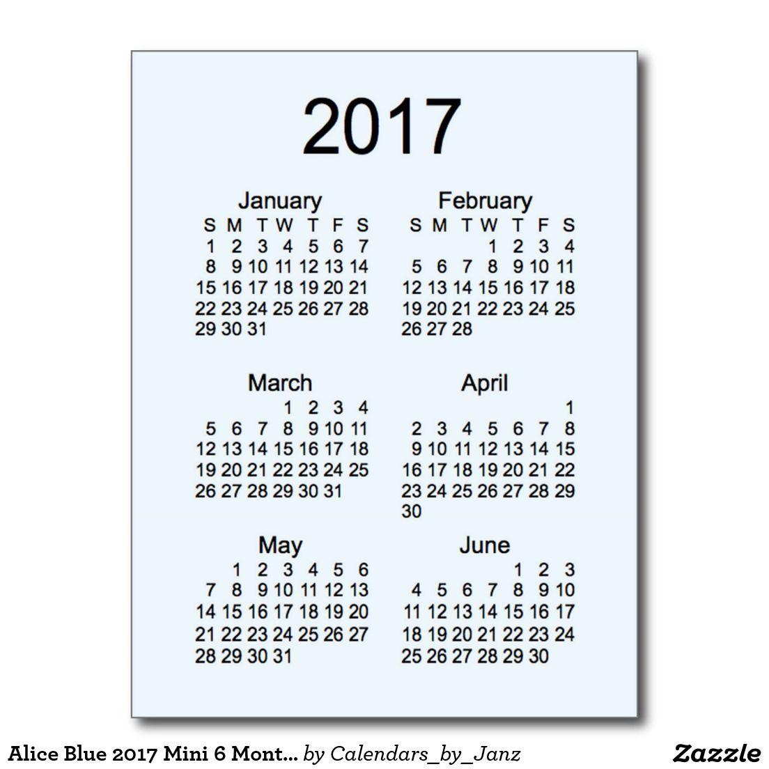 6 month calendar