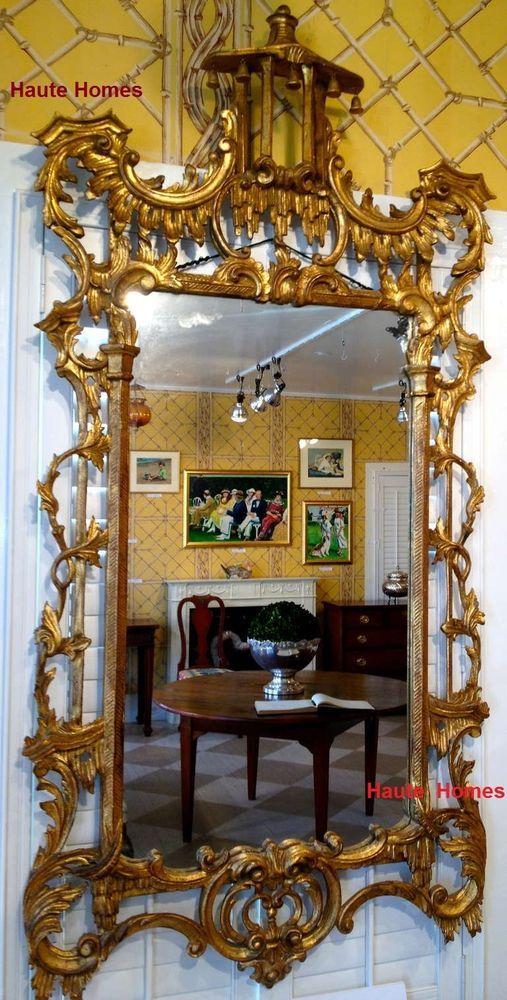 Large 62 italian ornate gilded georgian style asian for Asian style mirror