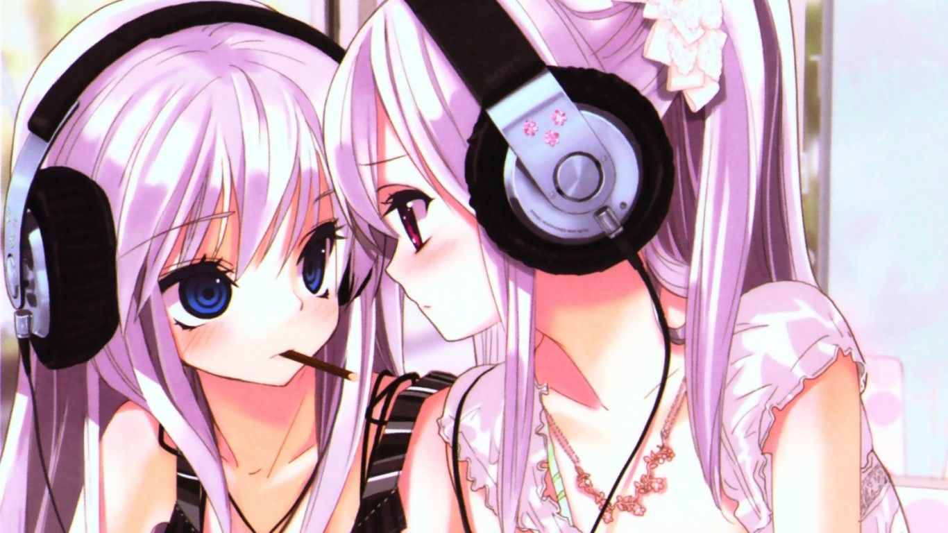 Anime Girl with Headphones Wallpaper Musician 19087station