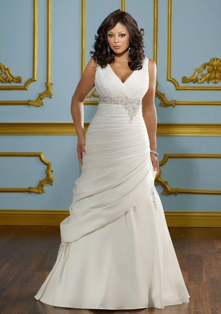 Hot Plus Size Satin Bridal Gown Wedding Dress Custom Size 12 14 16