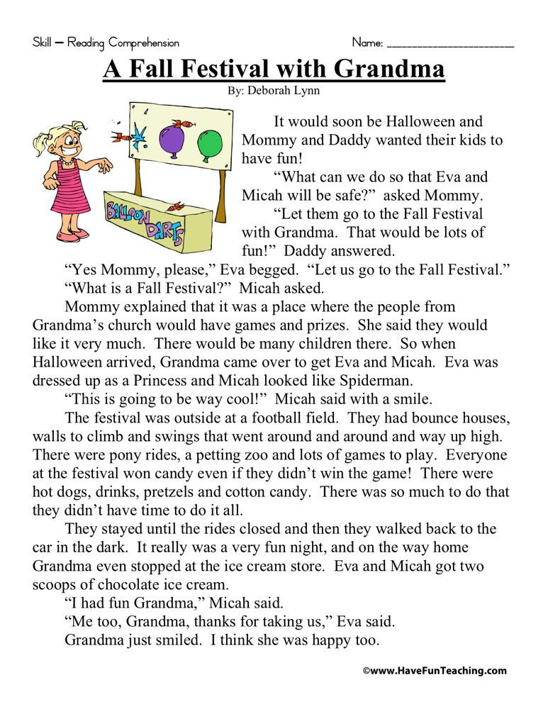 Reading Comprehension Worksheet A Fall Festival With
