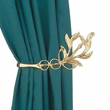 Vintage Pair Vine Curtain Tie Back Holder Bright Brass 98978