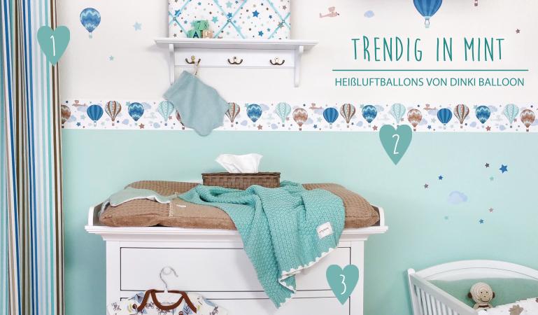 Babyzimmerideen bei Fantasyroom - Babyzimmer mit Bordüren in mint ...