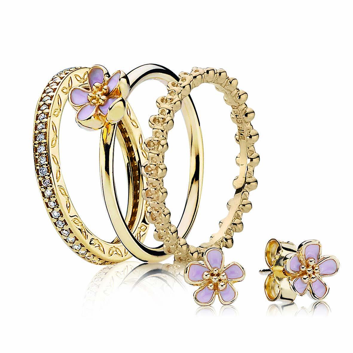Our New Season Picks From PANDORA -  PANDORA gold channel set diamond ring $1,499, fine gold cherry blossom ring $349, fine gold floral  - #cuteoutfits #cuteweddingdress #fashionjewelry #fashiontrends #pandora #pandoracharms #pandorarings #Picks #Season #trendyoutfits #weddingbride