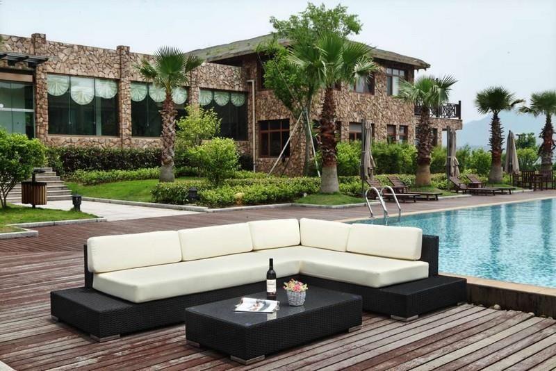 Grand mobilier canapé de jardin avec angle en résine tressée ...