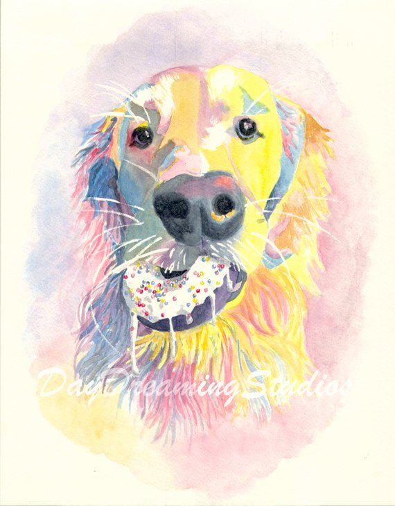 Dog With Donut Watercolor Art Print Golden Retriever Dog