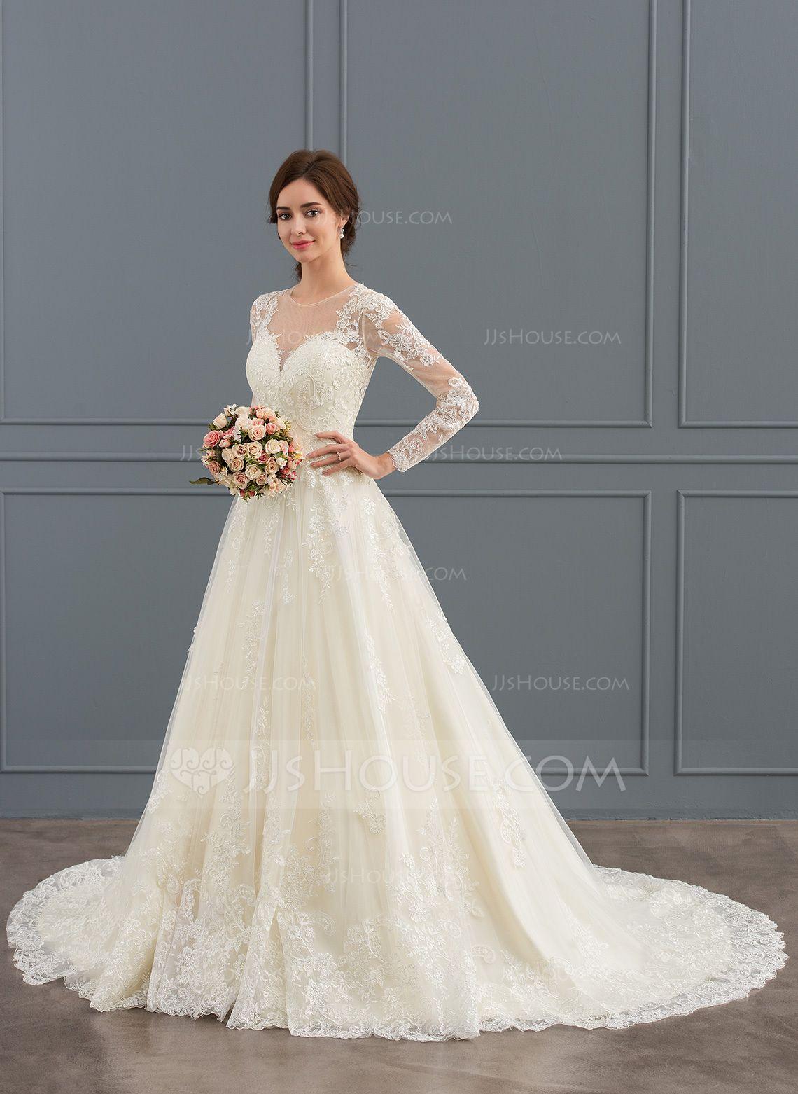 Us 276 00 Ball Gown Princess Illusion Court Train Tulle Lace Wedding Dress Jj S House Wedding Dress Long Sleeve Wedding Dresses Wedding Dresses Lace [ 1562 x 1140 Pixel ]
